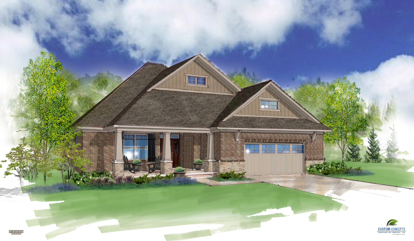 A rendering of a house designed by Custom Concepts Construction Company